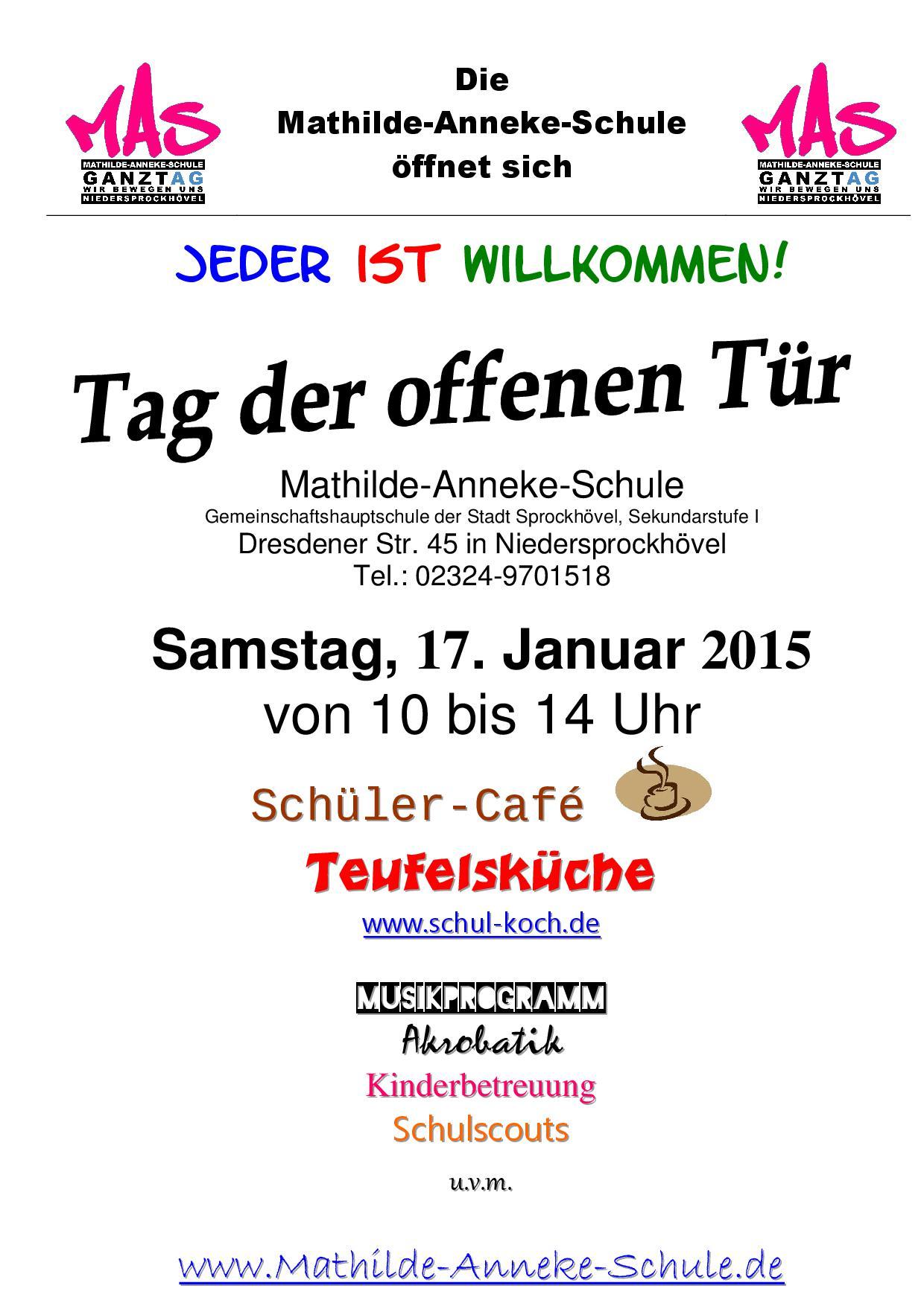 einladung zum tag der offenen tür 2015 | mathilde-anneke-schule, Einladung